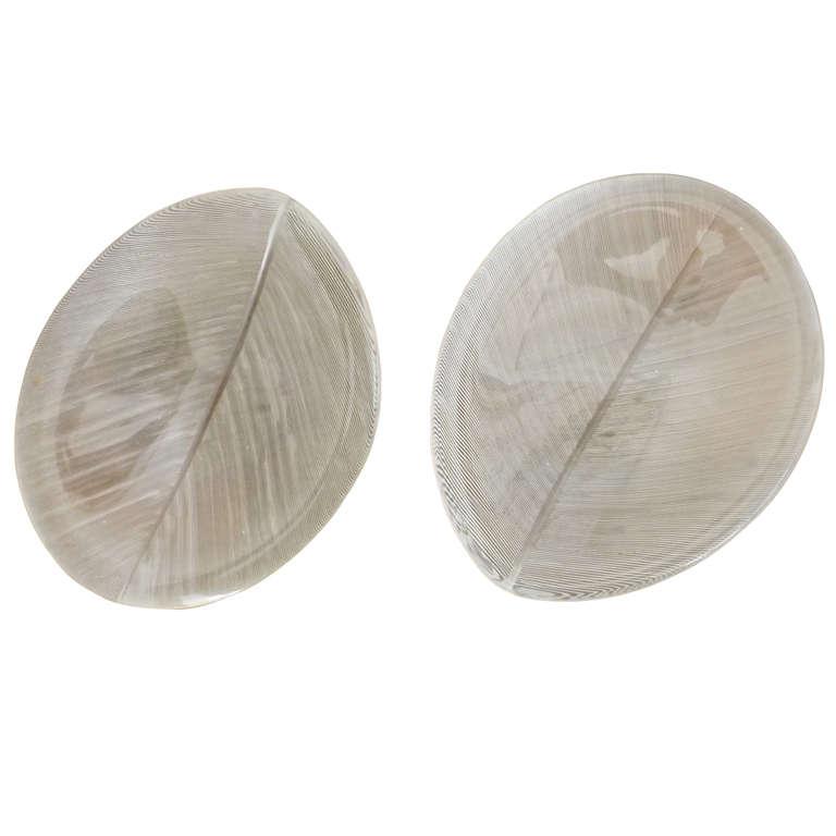 "Tapio Wirkkala  Pair of Glass ""Leaf"" Dishes $3,600"