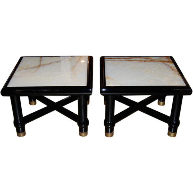 Italian Black Lacquer Side Tables with Onyx Tops $3,800