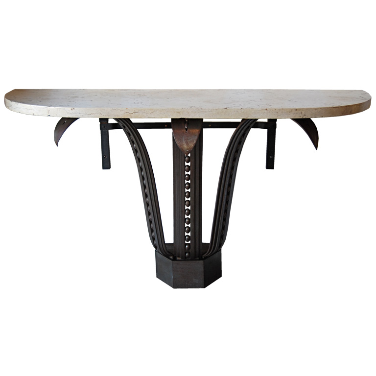 Raymond Subes   Massive  Fer Forge Console with Marble Top $45,000