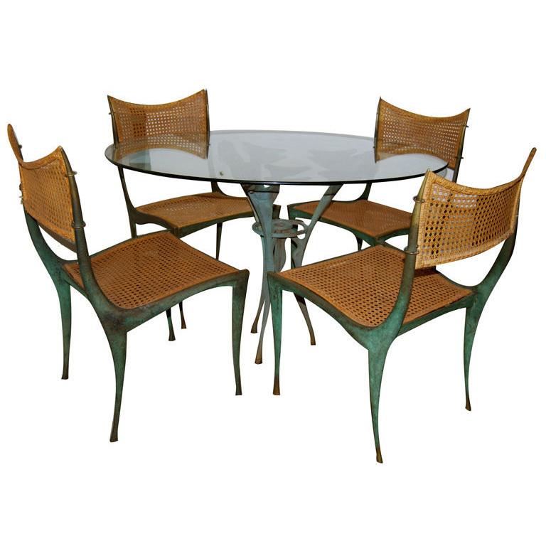 "Dan Johnson  Bronze ""Satyr"" Table and Four ""Gazelle"" Chairs $120,000"
