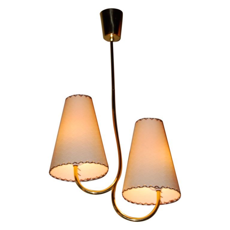 Josef Frank  Brass and Parchment Chandelier $2,900