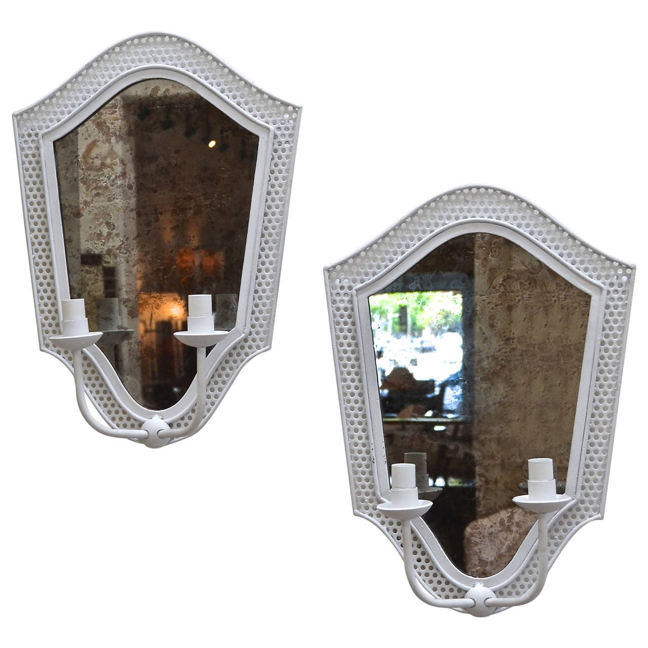 Mathieu Matégot  Pair of Sconces with Oxidized Mirror $5,500