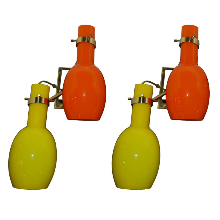 Stilnovo  Pair of Orange & Yellow Murano Glass  Sconces  $3,900