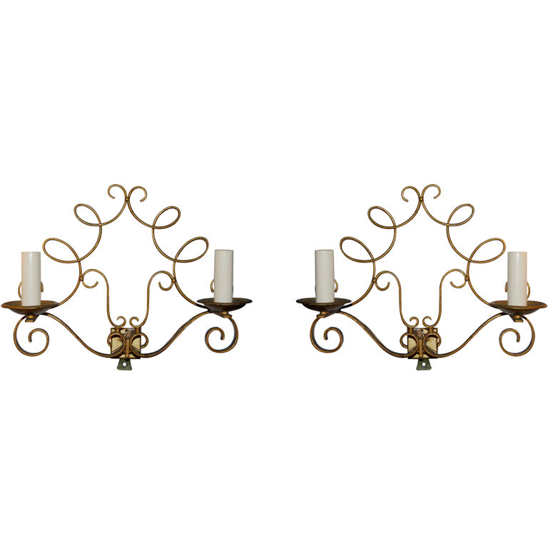 Pair of Fanciful French Gilded Sconces $2,200