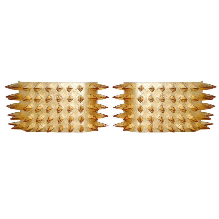 Modern One  Pair of 22Kt Gold Leafed Spike Sconces $3,900