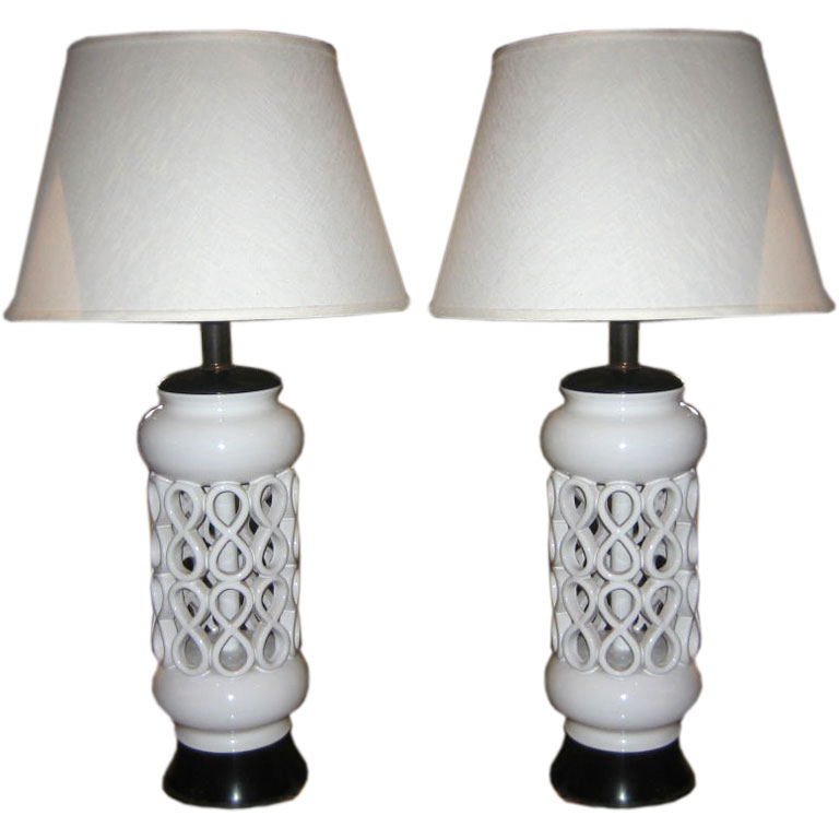 Italian  Pair of Pierced Ceramic Table Lamps $3,800