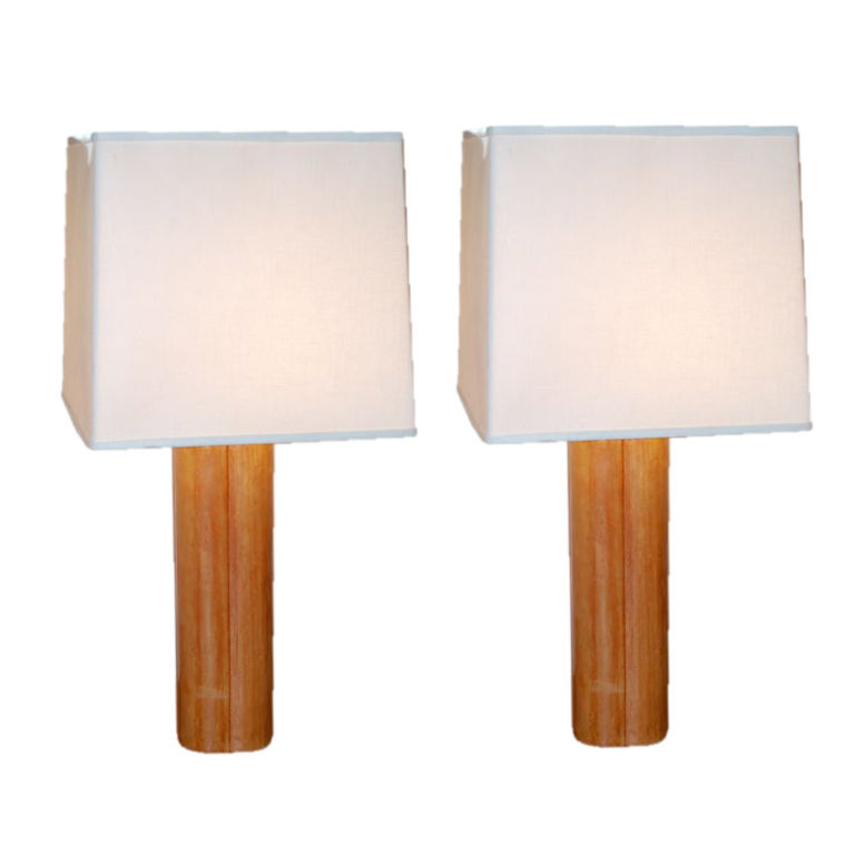 French  Pair of  Leather Bound Clover Lamps $2,500