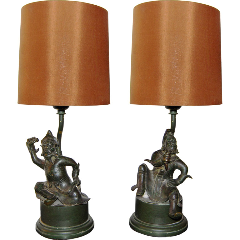 "William ""Billy"" Haines  Pair of Asian Warrior Table Lamps $6,500"