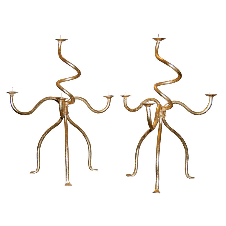 French Gold Gilded Hand Forged Candelabra $2,400