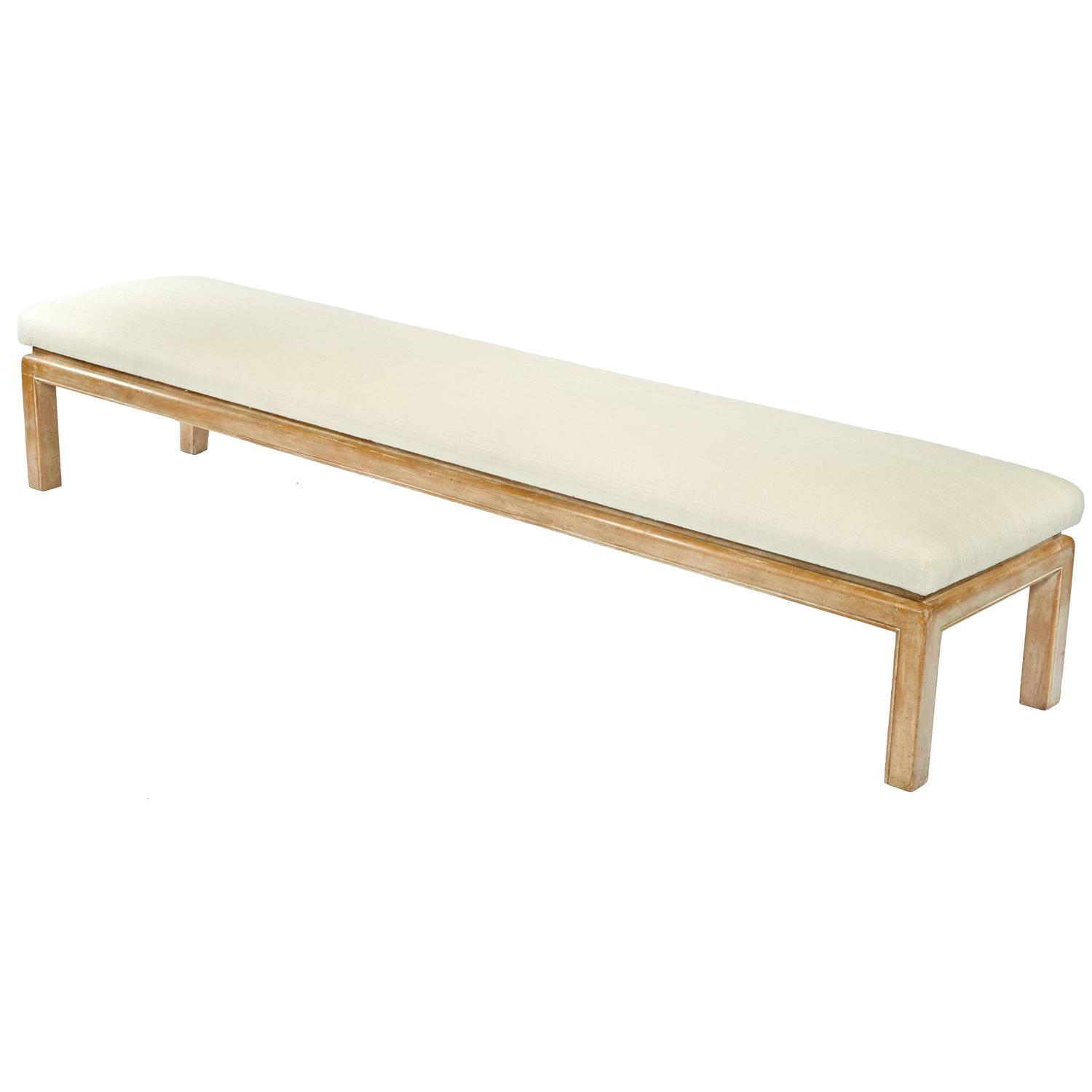 Samuel Marx  7' Bench in Limed Finish with Silk Upholstery $24,000