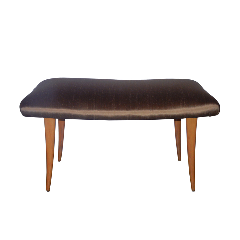 Robsjohn Gibbings  Sabre Leg Bench in Bronze Silk $3,200