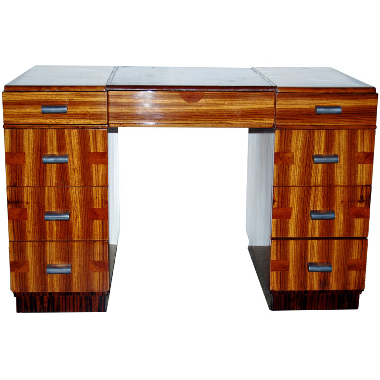 Striking French Parquetry Double Pedestal Desk $7,500