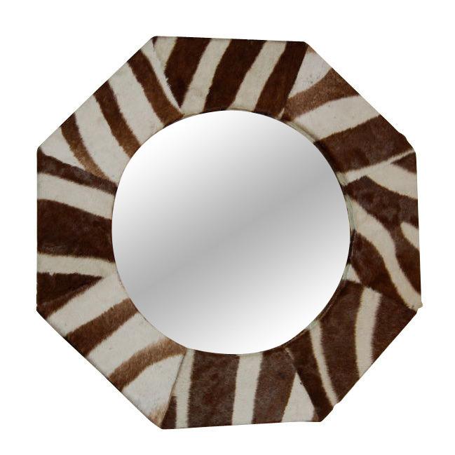 Zebra Skin Octagonal Wall Mirror $2,200