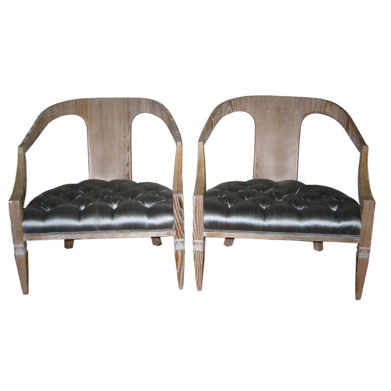 Tommi Parzinger  Pair of Cerused Open Back Lounge Chairs $16,500