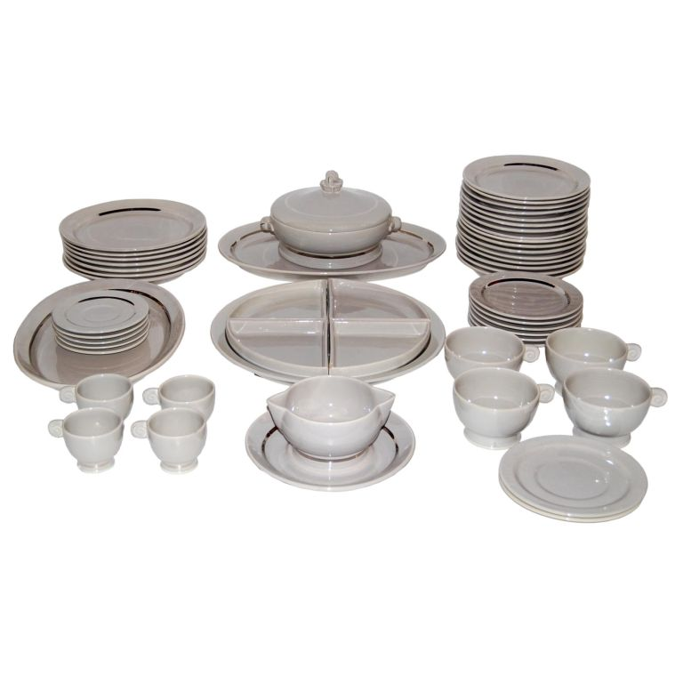 Jean Luce  53 pieces of Table Ware in Grey with Platinum Banding $4,500