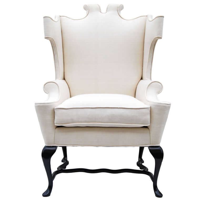 Arturo Pani  Fanciful Wing Chair in Tussah Silk $8,500