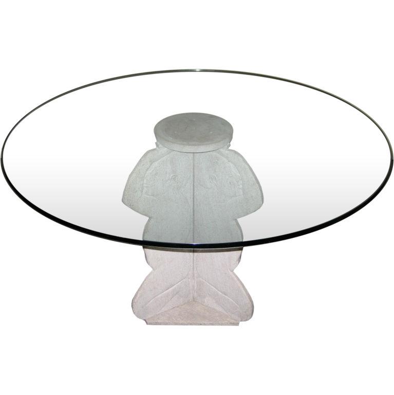 Gaetano Duccini   Incredible WPA Marble & Glass Table $25,000