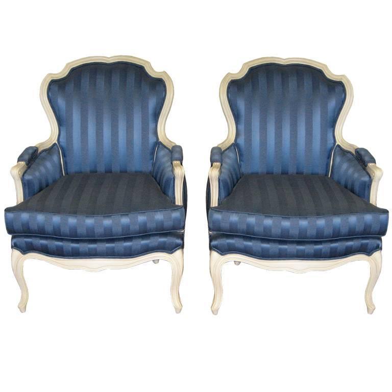 Maison Jansen  Pair of Blue Lounge Chairs $6,500