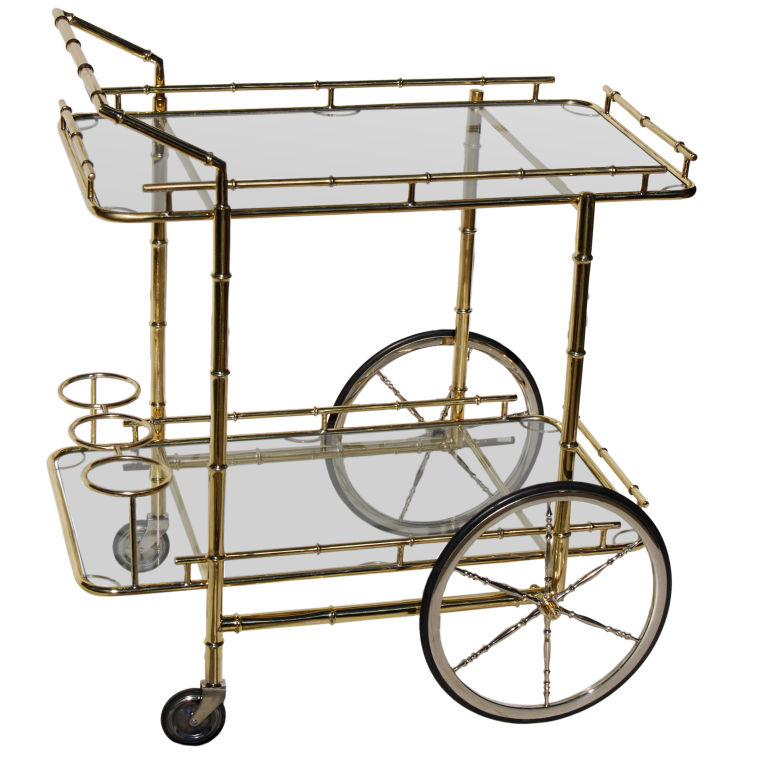 "Italian Brass ""Bamboo"" Barcart with Polished Steel Wheels. $2,800"