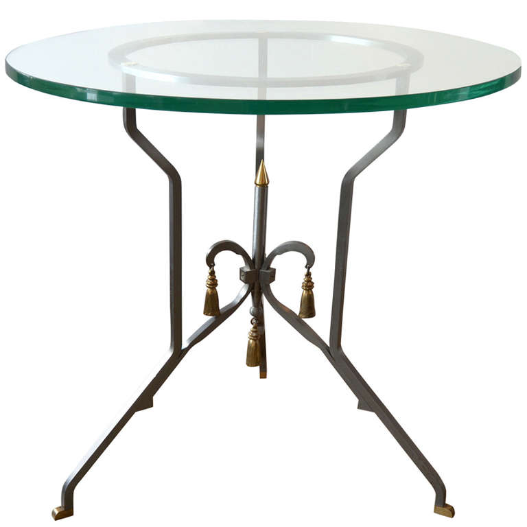 P.E. Guerin  Steel & Brass Occasional Table $4,400