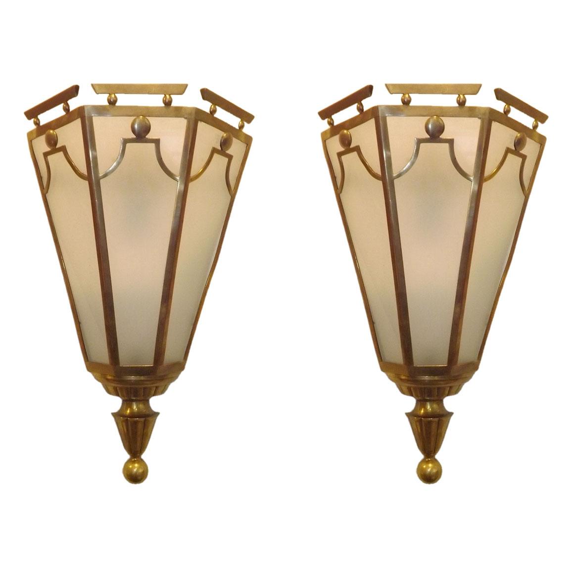 Gio Ponti  Bronze Sconces from the Hotel Bristol $14,500