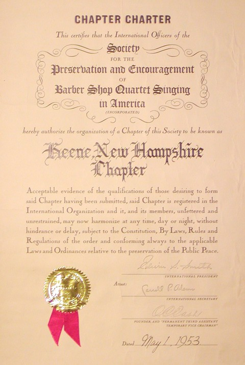 CHAPTER CHARTER TO KEENE (ONLY) - RE-ISSUED MAY 1, 1953 (MAY 1, 1952)