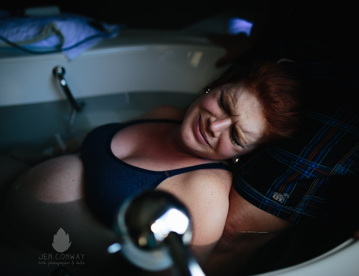 """""""This Mama is an ER nurse. She is insanely tough. She labored all night by herself and called me when she was a 9cm. She """"stalled"""" and labored for 9 more hours until her son came earth side.""""   Jen Conway Photography"""