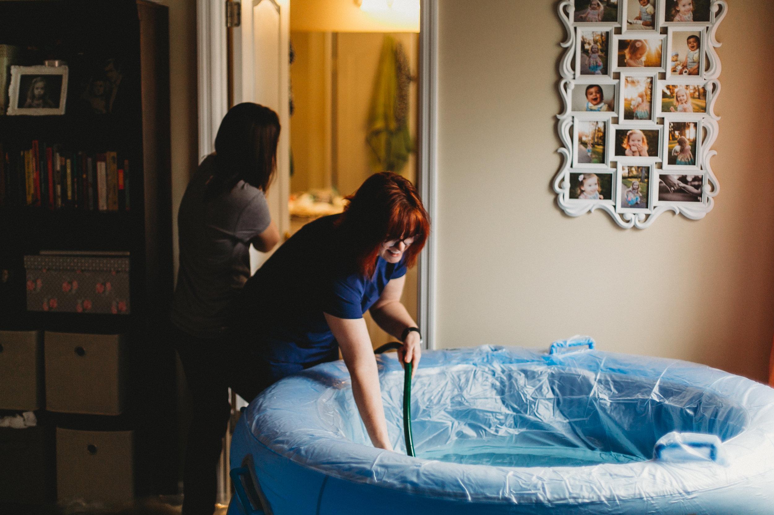 Preparing the birth tub