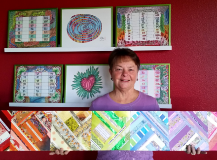 Genevieve displaying a small sample of her healing art