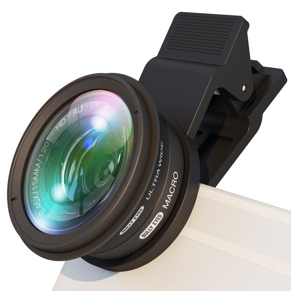 Clip-on LENS: Wide and Macro - ADD VISUAL POWER TO YOUR IMAGES FOR YOUR FOOD BLOG, TRAVEL BLOG, BEAUTY VLOG AND OTHER CREATIVE PROJECTS. This lens attachment magnifies up to 10X or exaggerates up to 50%. Fisheye Lens offers a full frame and lets you capture every detail at a 120° wide-angle view! 10x Macro Lens magnifies subjects and offers an amazing depth of field.