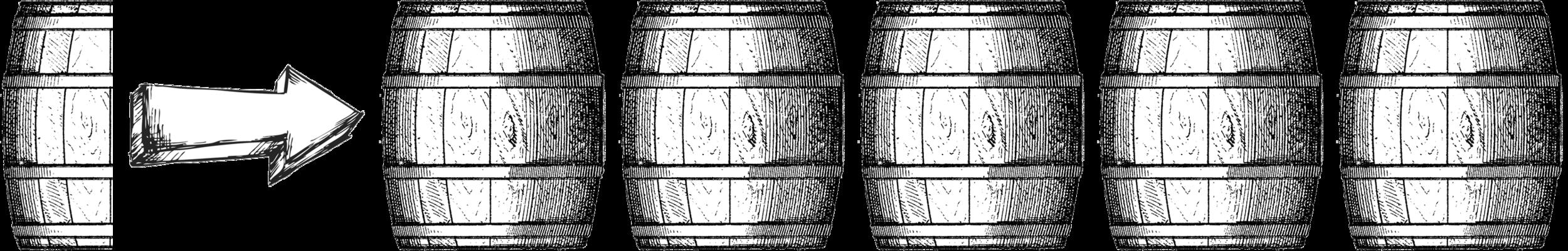 .5 barrel = Horrible;   1 barrel = Poor;   1.5 barrels = Decent;   2 barrels = Solid;   2.5 barrels = Good;   3 barrels = Very Good;   3.5 barrels = Excellent;   4barrels = Outstanding;   4.5 barrels = Superb;   5 barrels = Legendary