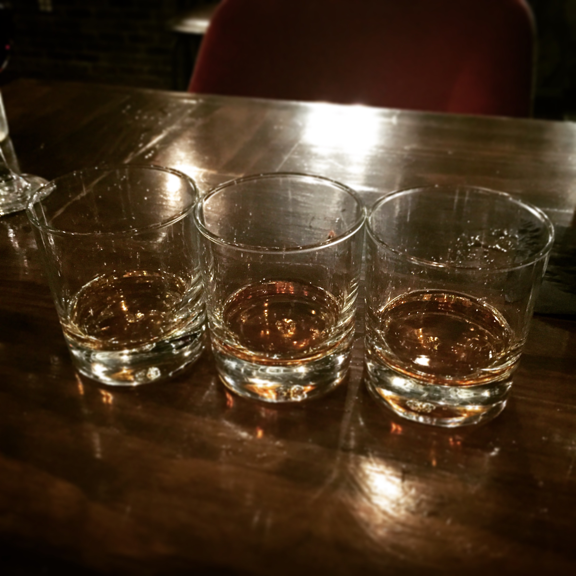 From left: Bulleit Rye, Hudson Manhattan, Whistle Pig 10 Year Rye