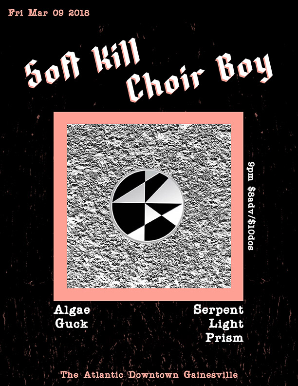 """Friday, March 9th  Motorbreath GVL Presents:  Soft Kill   Choir Boy  Doors at 9pm, Show starts at 10pm $8adv/$10dos (18+ only)   Buy Tickets   SOFT KILL Portland Oregon's Soft Kill, ripped through 2016 with their first release on Profound Lore Records """"Choke"""". Once more bringing their unique blend of guitar driven sad rock, they are laced with a pop sensibility and flawless songwriting that seamlessly transcends post punk. Soft Kill have matured into a powerhouse, having released what is considered a new classic in the genre An Open Door in 2010, they are now effortlessly redefining it. As always with frontman Tobias Grave's powerful, raw emotional storytelling, and guitar work by Conrad Vollmer, along with Owen Glendower on bass.Soft Kill write songs about loss, battles with drug addiction, the many tragedies that come from that life and the empty space suspended between mourning and celebration.  CHOIR BOY """"Choir Boy"""" was what the kids called singer/songwriter Adam Kloppin his early teens when he fronted punk cover bands in Cleveland, Ohio. An intended insult, the label seemed fair and fitting in a way, given Klopp's religious upbringing and angelic voice. After high school, Adam left Ohio for college in Utah. While his career as a student would prove short-lived, he integrated into Provo and SLC's underground music and art scene, left religion behind, and called his new band """"Choir Boy"""". Since Choir Boy's gorgeous debut LP on Team Love records in 2016, the dream-pop outfit has gained a cult following online and in underground circles. Adam's stunning vocal range, layered compositions, and heartbreaking melodies are backed by musical partner Chaz Costelloon bass (Fossil Arms, Sculpture Club, Human Leather) -and along with a rotating cast of players, create the perfect blend of nostalgia-laced romantic pop music we've been waiting years to hear."""