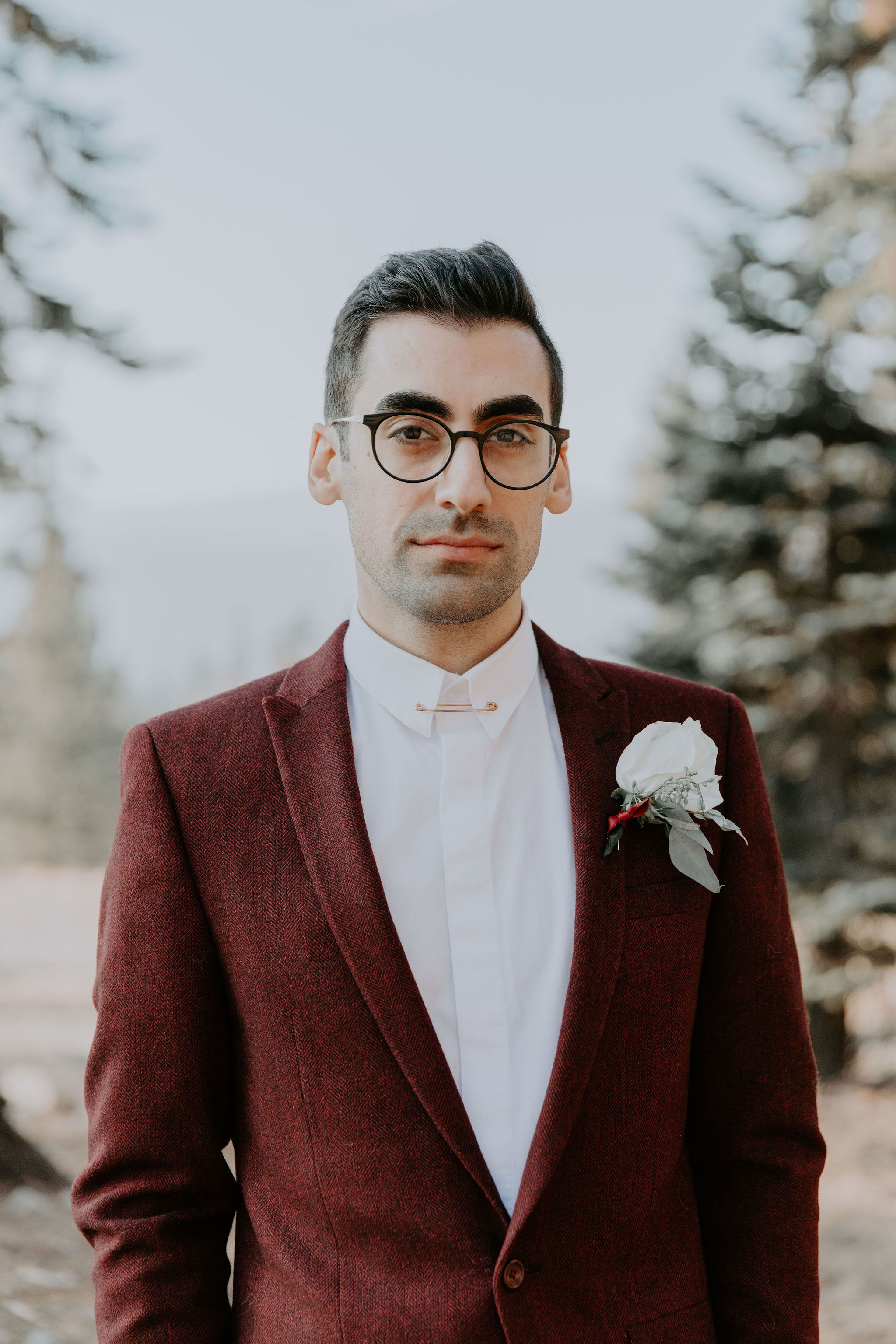 Yosemite National Park Elopement Groom Burgundy Suit  May Iosotaluno Photography