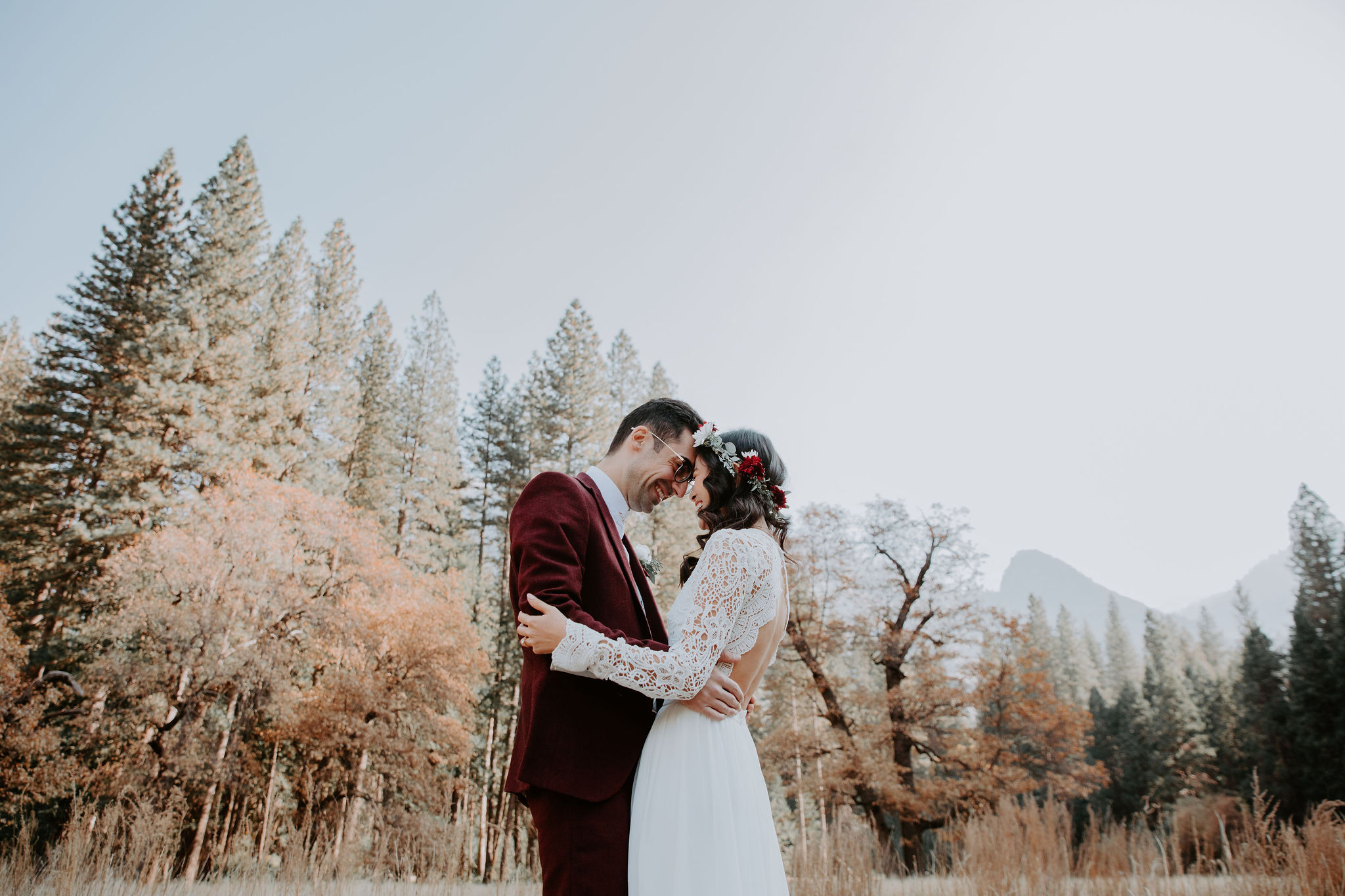Yosemite National Park Elopement First Look Meadow May Iosotaluno Photography