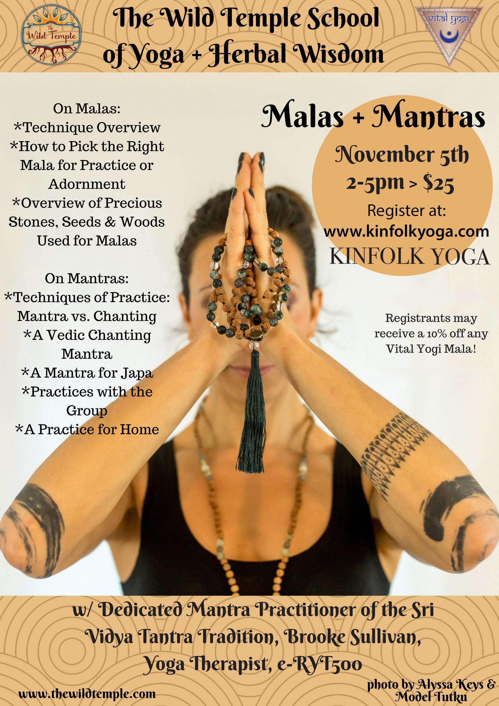 Mantras and Malas Yoga Workshop Kinfolk Yoga