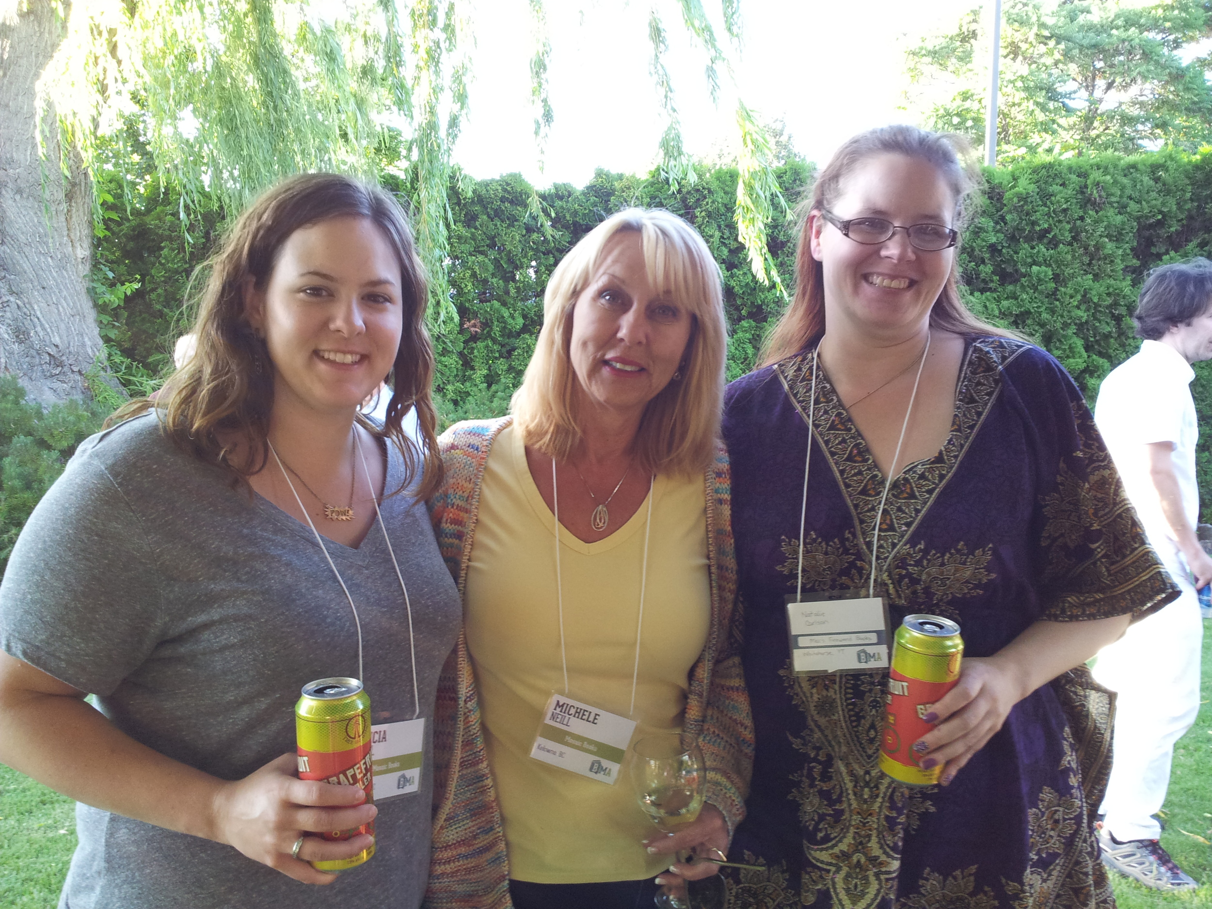 L to R: Alicia Neill (Mosaic Books), Michele Neill (Bookmanager), Natalie (Mac's Fireweed Bookstore)
