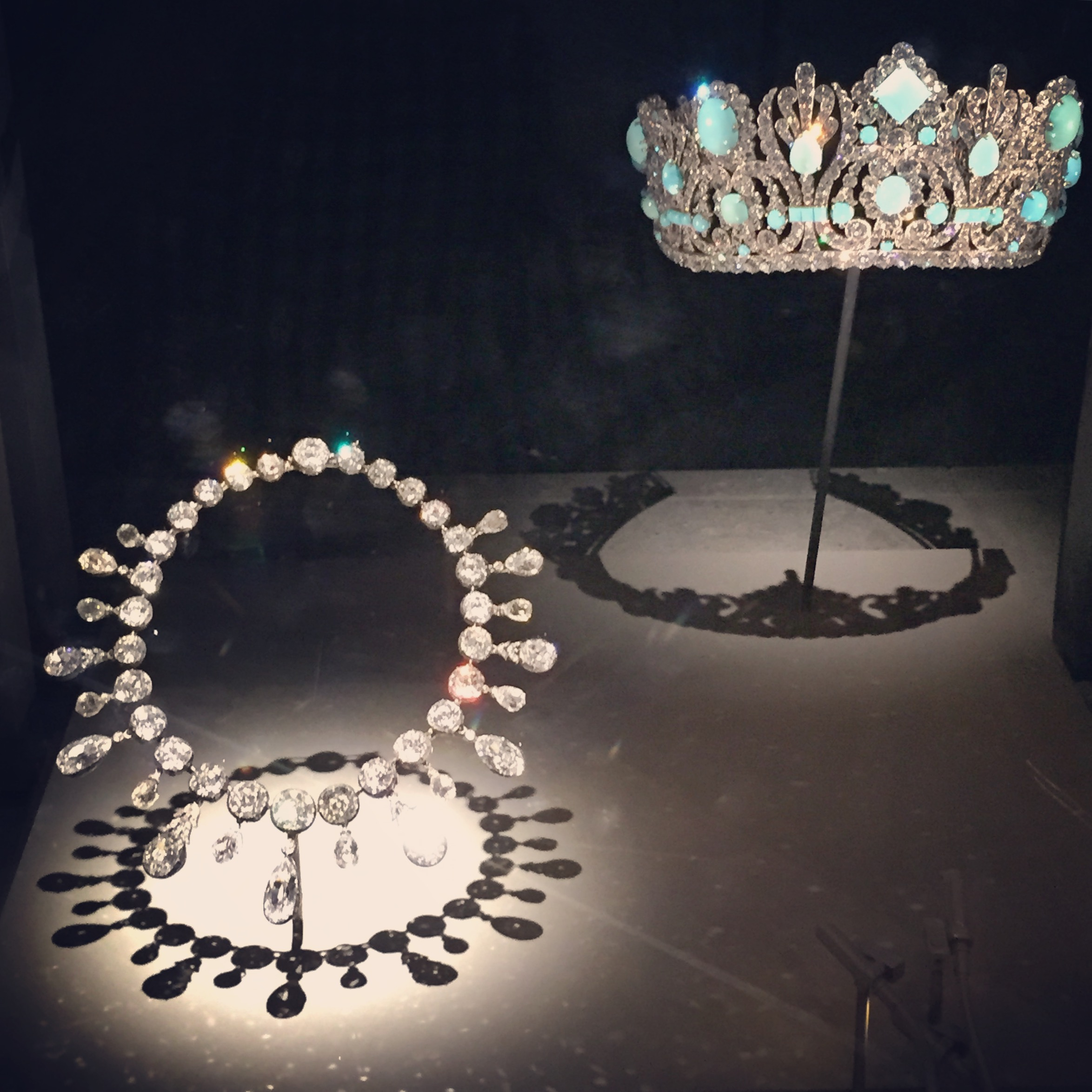 """The Marie Louis Diadem - the crown - originally held emeralds, not turquoise. The emeralds were taken out and sold individually as """"emeralds from the historic Napoleon Tiara.""""Between 1954 and1956 Van Cleef & Arpels mounted the turquoise to replace the original stones."""