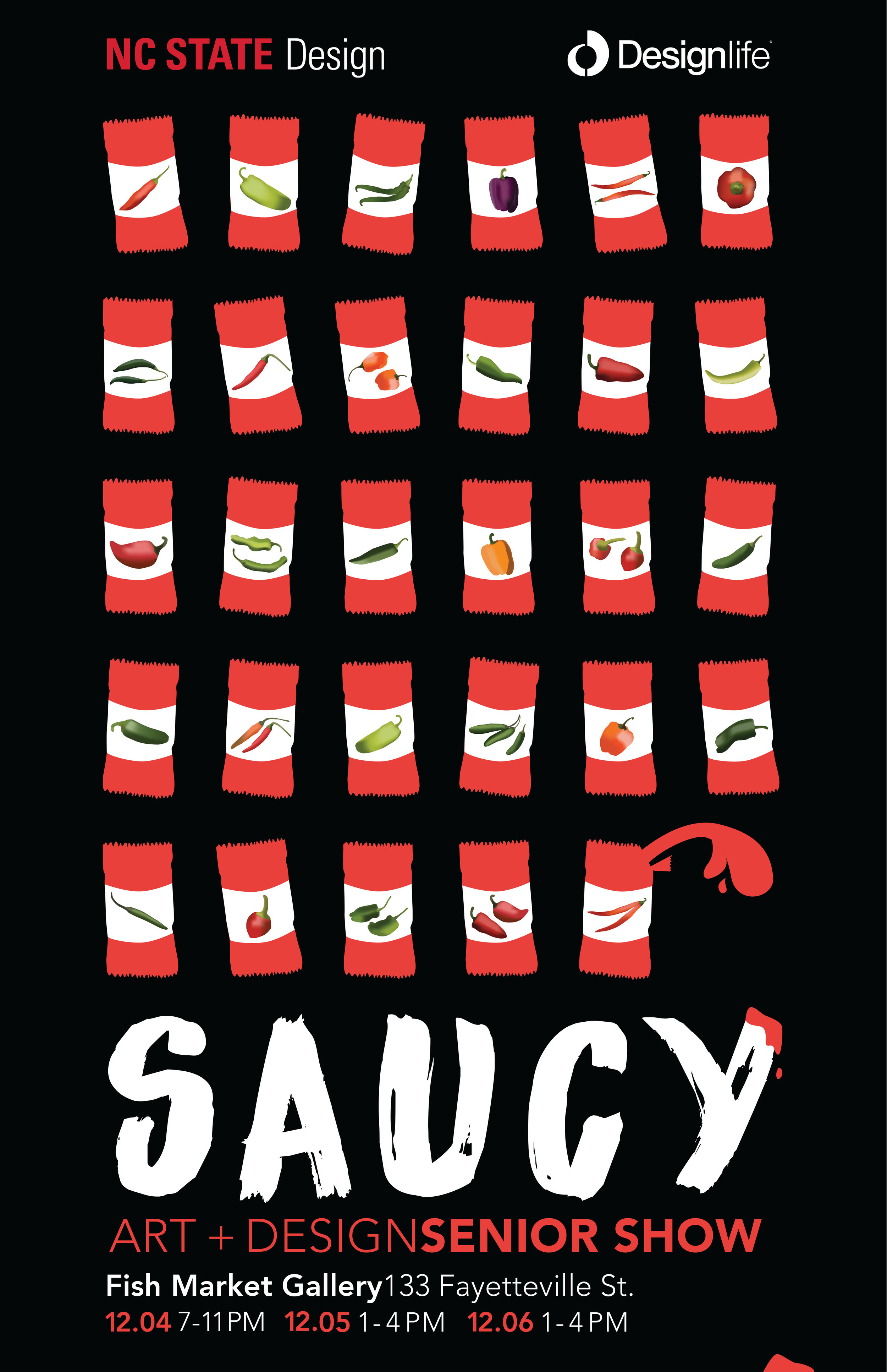 "SENIOR SHOW BRANDING:  ""SAUCY""   A graphic language developed to represent the graduating class in the Art + Design Senior Show."