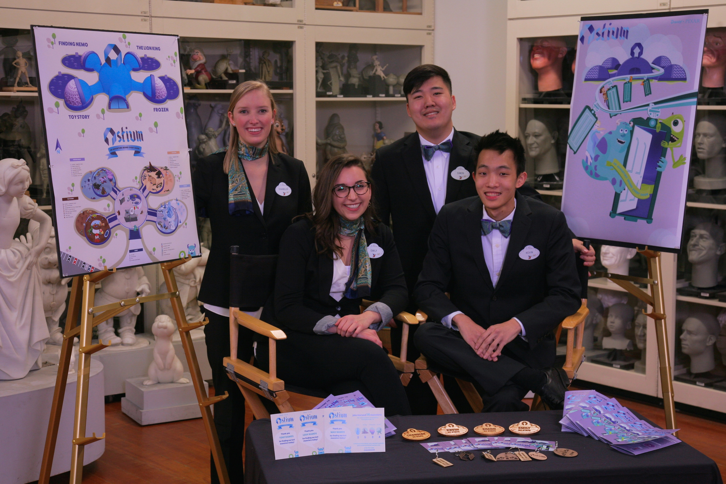 (Front Row Left to Right) Emily Wise and Kevin Lee (Back Row Left to Right) Chandler Williams and Simon Park - ©Disney photo by Gary Krueger