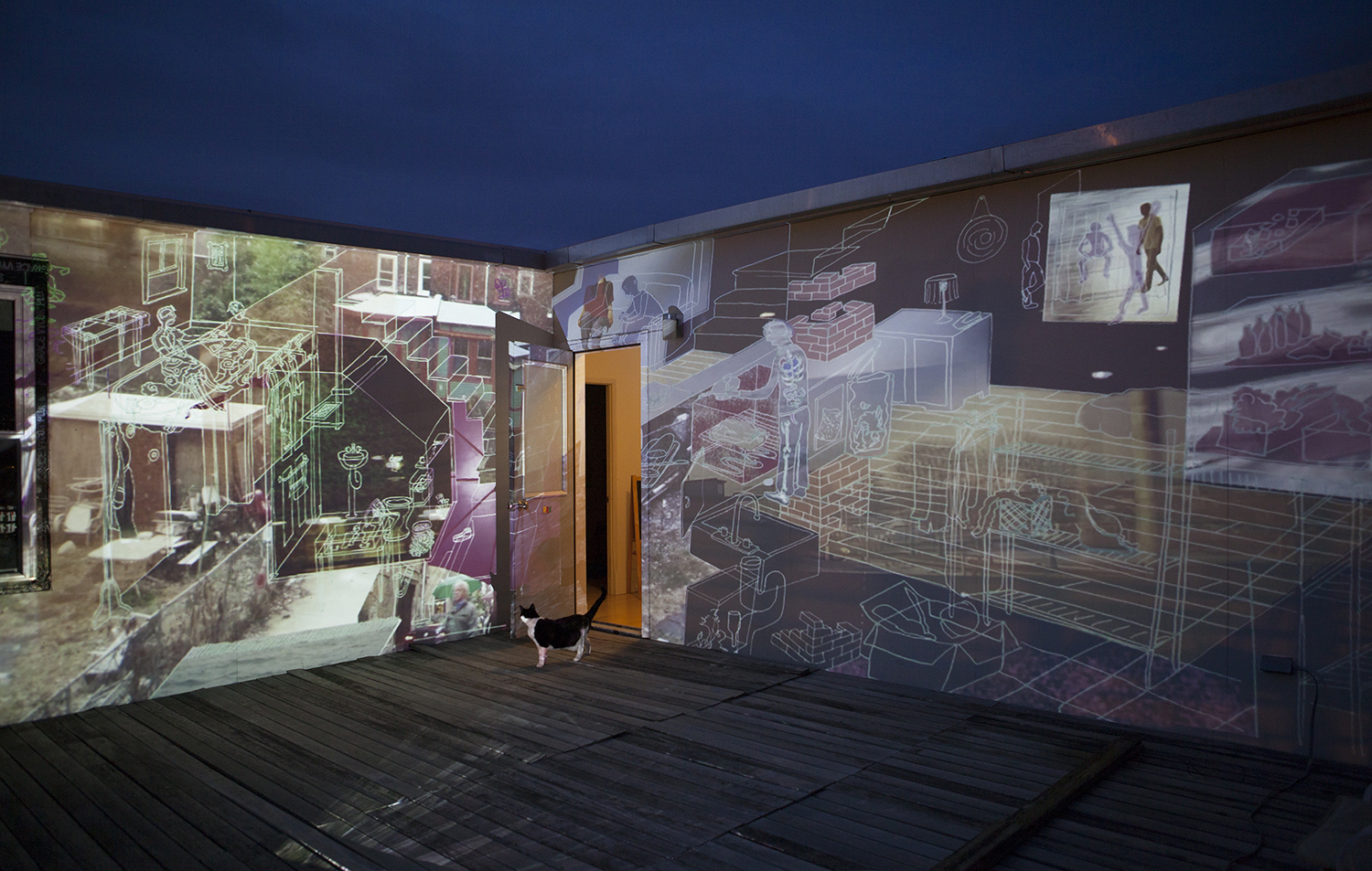 Glass House ,   2014, Philadelphia PA,    outdoor video installation curated by Sean Stoops, running time 9 minutes
