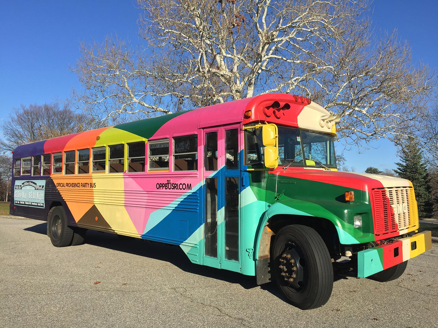 Razzle Dazzle Bus ,   2015, Providence RI,  spray paint on school bus, curated by  The Avenue Concept