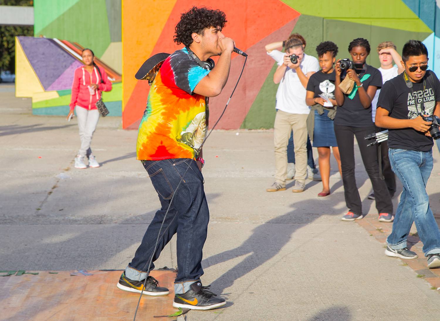 Performance commemorating the opening of the Cultural Corridor between Classical and Central High Schools,  Providence RI, 2015