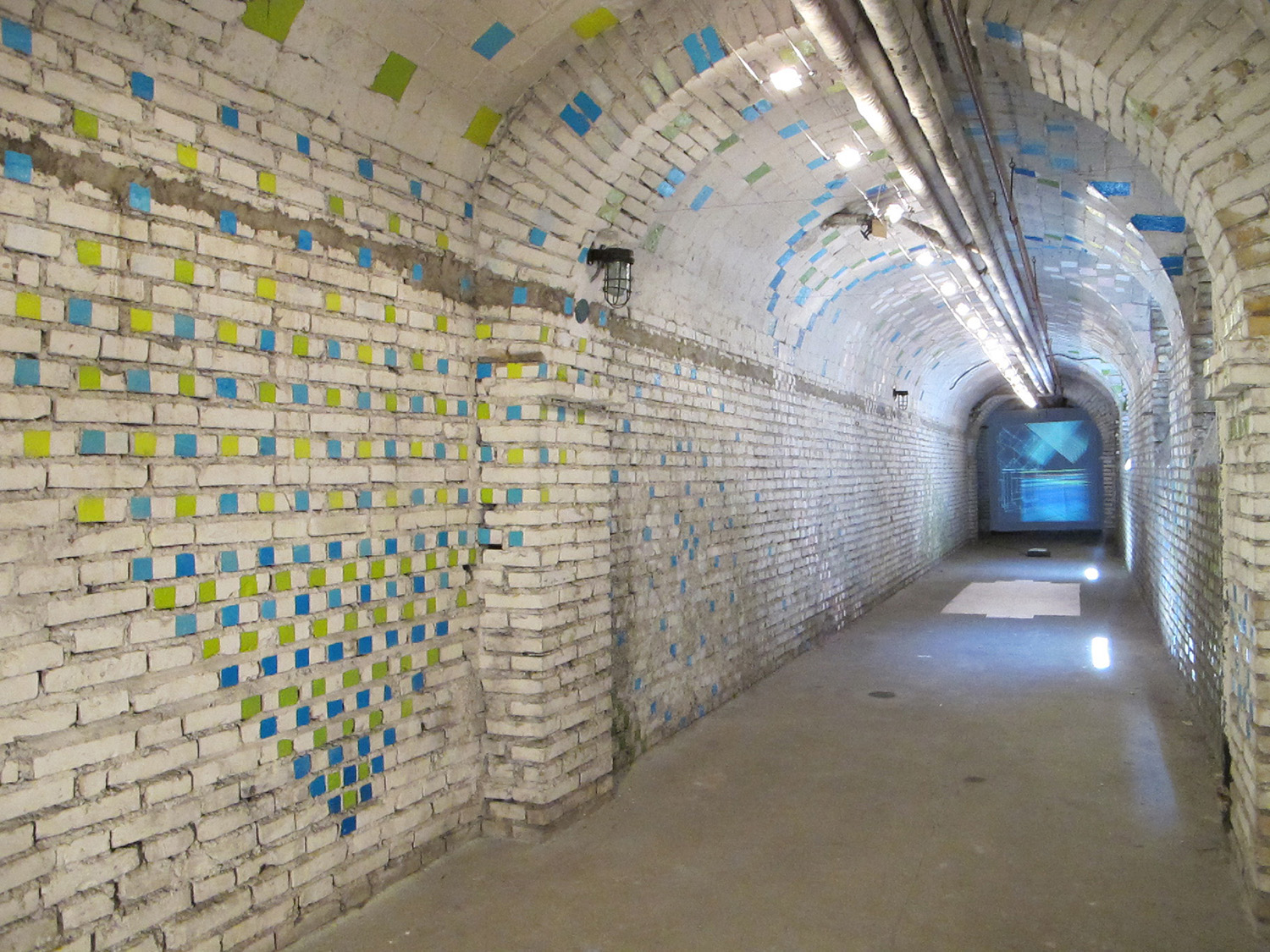 Tunnel Vision ,   2010, Academia Romania, Rome Italy,  latex paint on brick wall  'Spazi Aperti' group show curated by Mirela Pribac & Dina Dancu