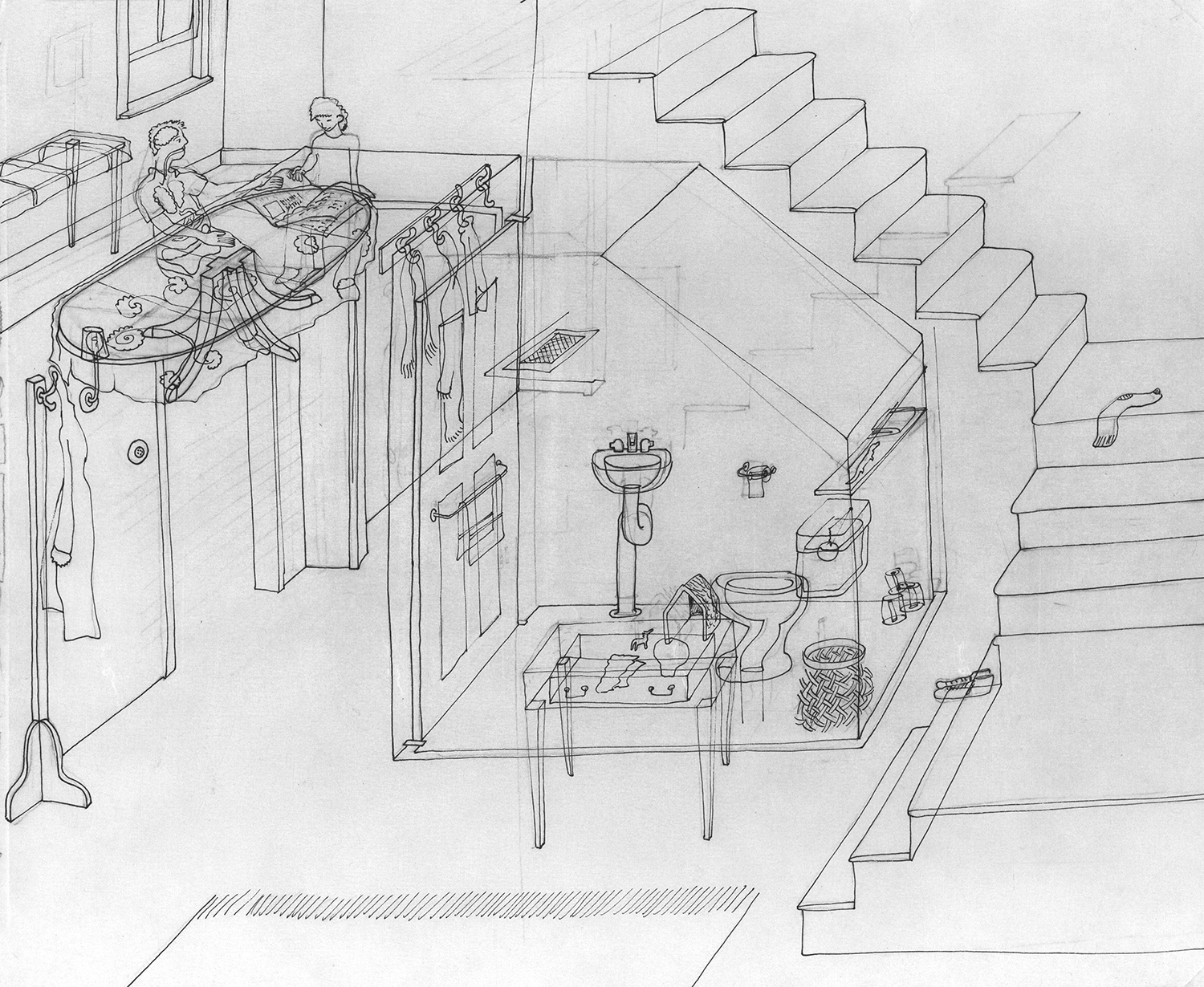 Glass House 2 ,   2014,  pen and pencil on paper, 6' x 7'