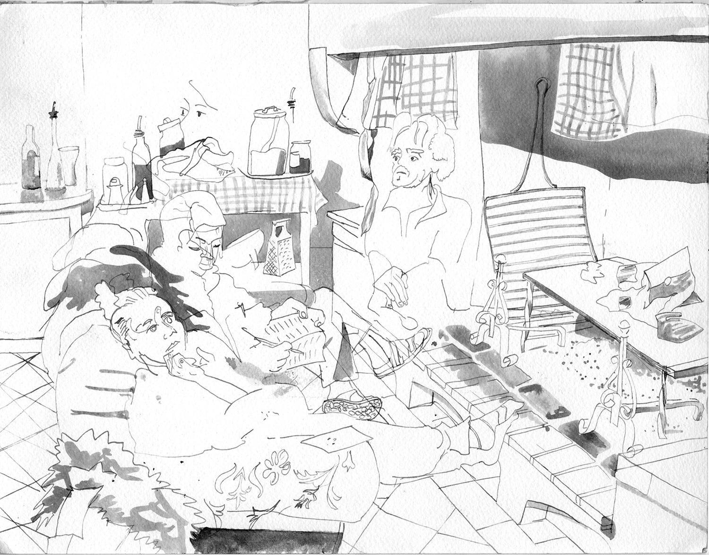 "Medieval Kitchen ,   2010,  ink on paper, 12"" x 16"""