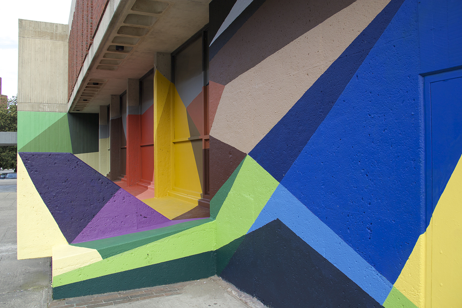 Razzle Dazzle ,   2015, Classical High School, Providence RI,  latex paint on exterior wall, curated by  The Avenue Concept