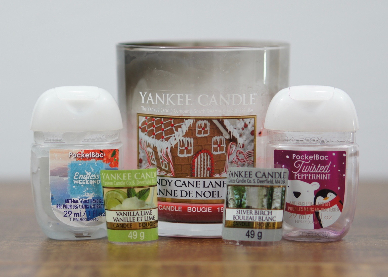 A few candles and hand sanitizers.