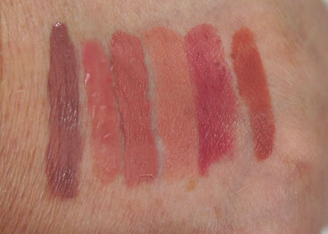 Swatches of the third Sephora Favorites - Give Me Some Nude Lip - Ciate-Bitter Sweet, Buxom-Dolly, Kat Von D-Ludwig, Tarte-Rum Punch, Make Up For Ever-C211, and Bite Beauty-Brioche.