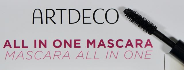 The first mascara to try out is the  Artdeco - All In One Mascara.     Artdeco-All In One Mascara - even more volume and styling with a long lasting colour.  The brush with fibres of different thickness and length fully adapts to the lashes to create a perfect styling.  This high quality mascara wraps your lashes from base to tip resulting in long, flexible and voluminous lashes.  Suitable for sensitive eyes and contact lens wearers.  Country of origin:Germany.  (Description taken from the booklet.)